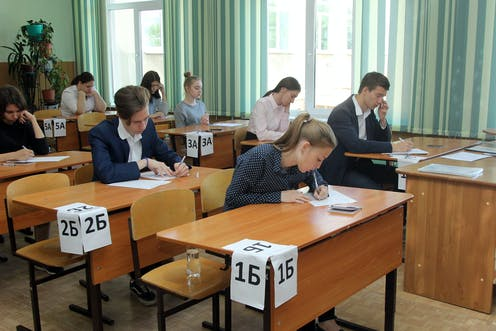 Russian students sitting an exam.
