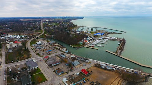an aerial photograph of Port Dover's waterfront