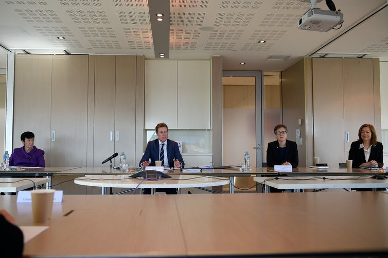 Business Council of Australia chief executive Jennifer Westacott, federal industrial relations minister Christian Porter and the Australian Council of Trade Unions' secretary Sally McManus and president Michele O'Neil at a roundtable meeting on June 3 202