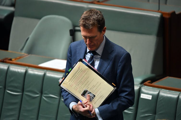 Federal industrial relations minister Christian Porter introduces the Morrison government's industrial relations bill to parliament on December 9 2020.