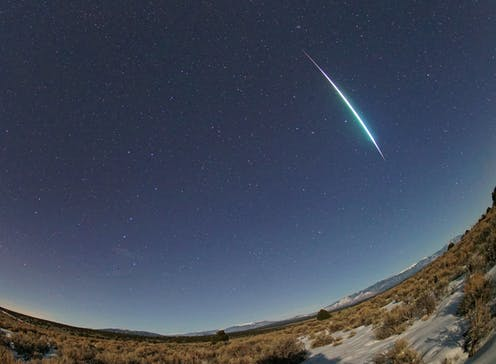 A meteor flash across the sky.