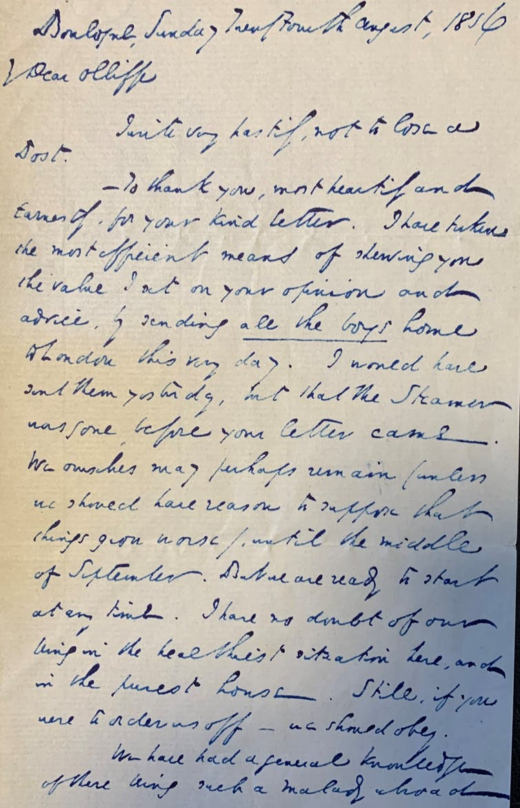 Photo of a letter written by Charles Dickens