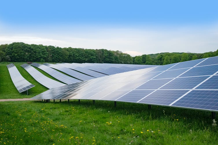 A row of solar panels arranged on an English field in the summer.