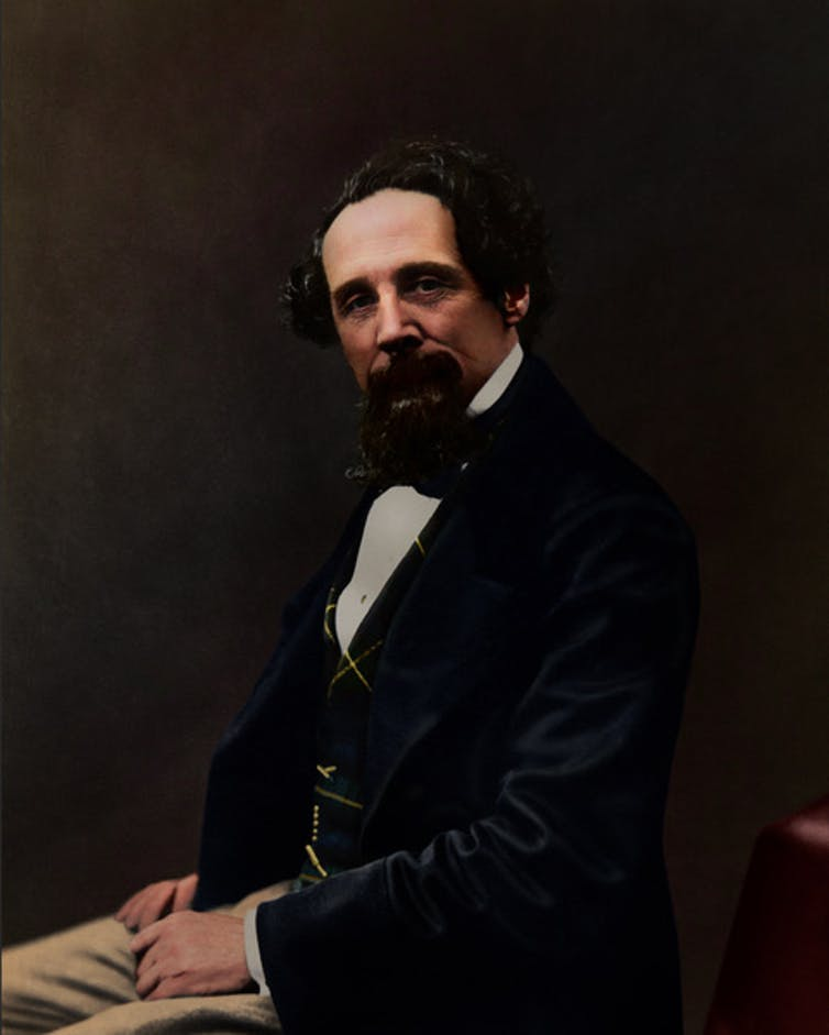 Colour portrait of Charles Dickens.
