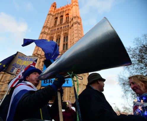Brexit protester Steve Bray holds a giant megaphone.