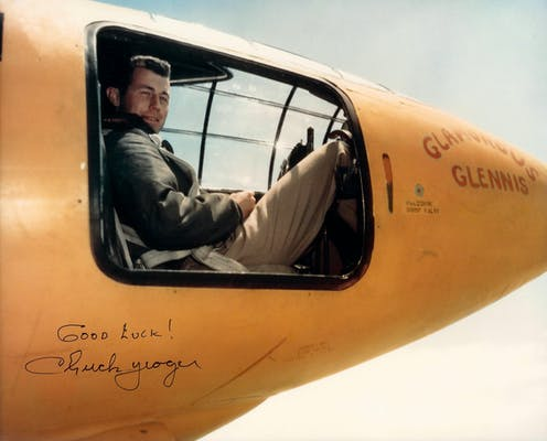 Test pilot Chuck Yeager in the cockpit of the Bell X-1