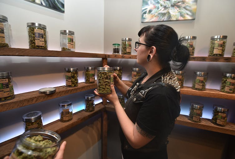 Woman browses various types of marijuana in glass jars on shelves, in well-lit, upscale setting