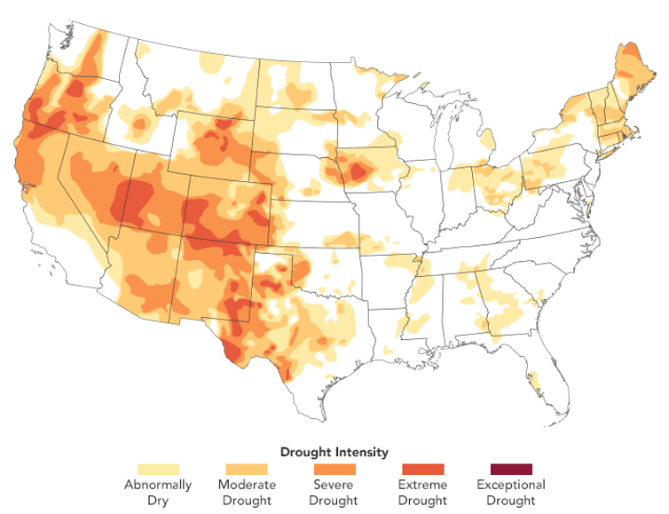 Map of the US showing much of the country in drought conditions.
