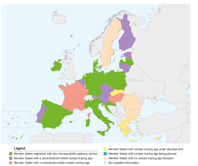 Map showing which EU member states have a contact tracing app using the 'gateway' system.