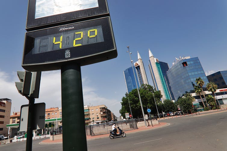 A roadside thermometer shows 42°C
