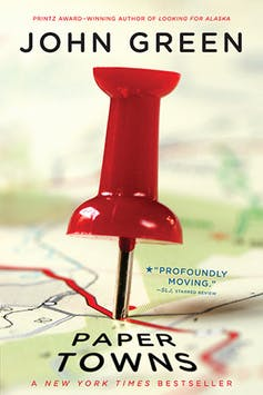 Book cover: paper towns (poster pin in map)