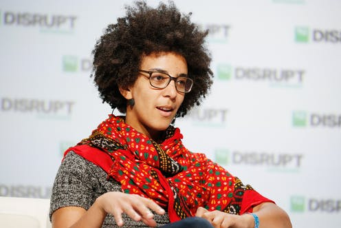 Timnit Gebru at the TechCrunch conference in 2018