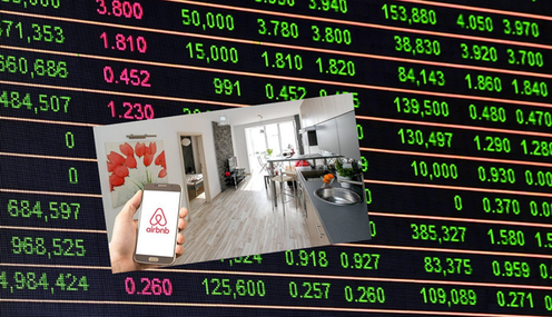 Composite picture of AIRBnB stock price with hotel room inset.