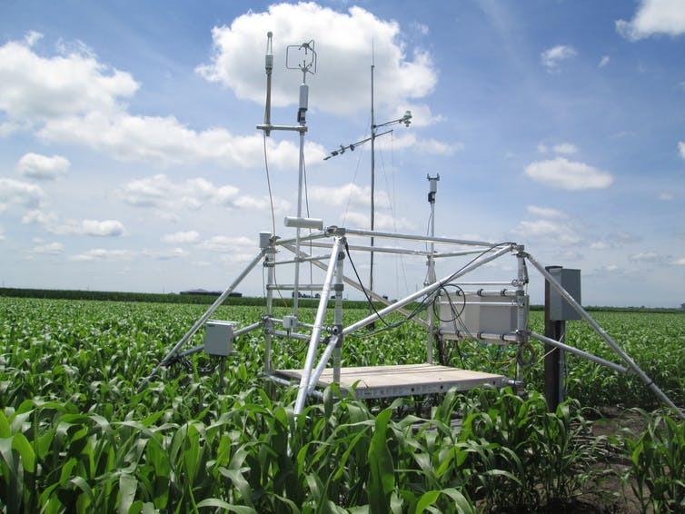 Some scientific equipment in a field.