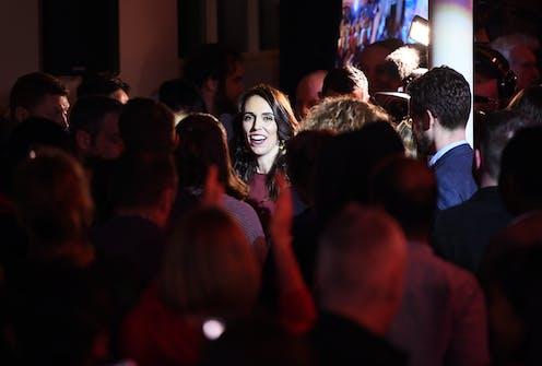 Jacinda Ardern in a crowd