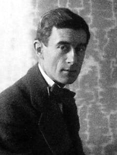 Young man in black and white photo, 1912