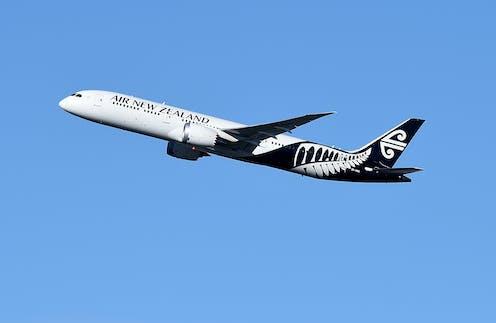 Air New Zealand international flight in the sky