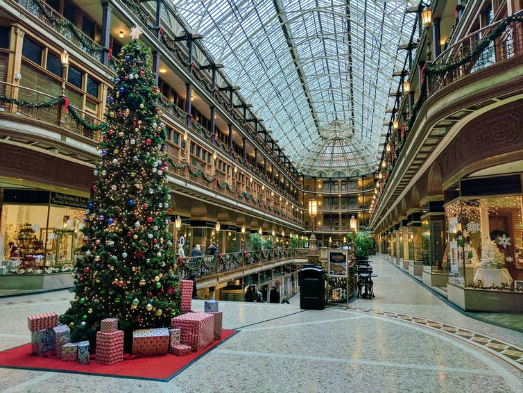 An empty shopping mall in Cleveland with a Christmas tree
