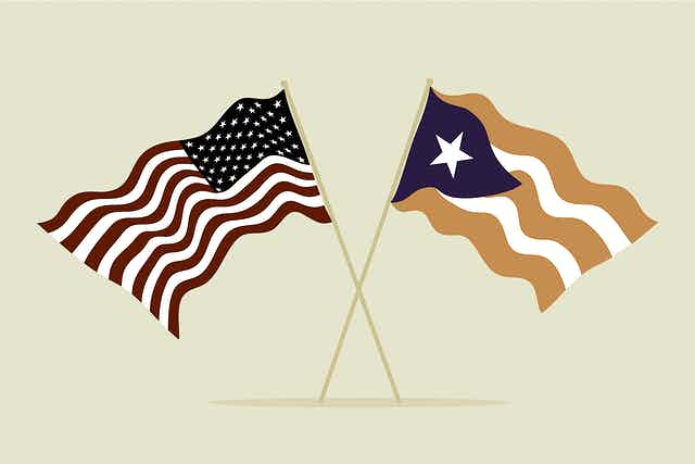 Illustration of the US flag and Puerto Rican flag together