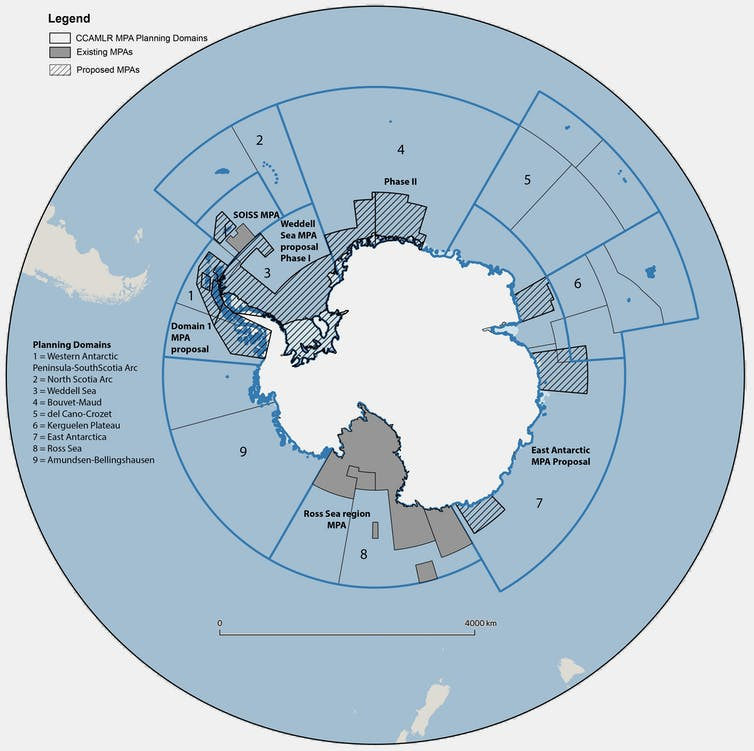 Map of marine protected areas around Antarctica.
