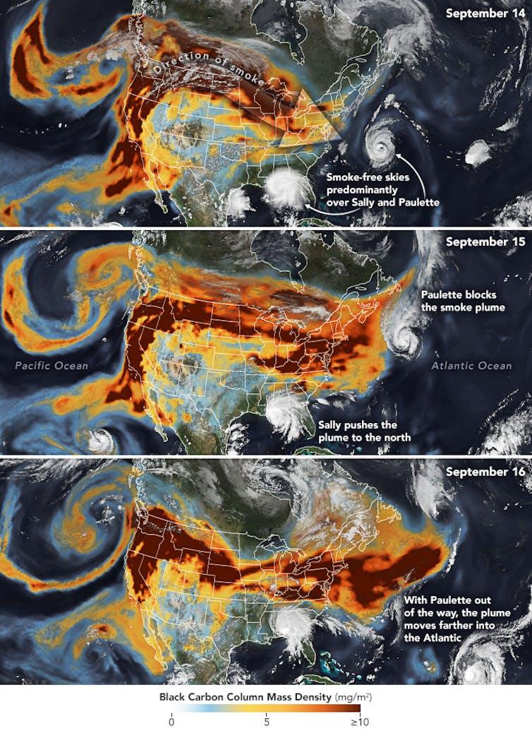 Satellite images of smoke plumes.