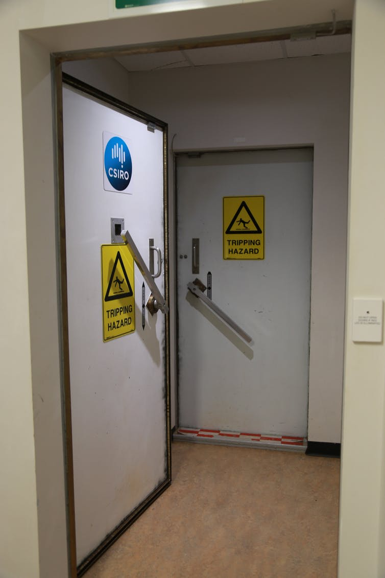 One of the airlock style double doors.