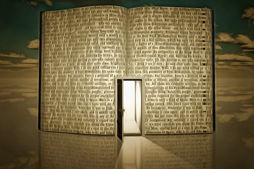 light-filled door opening in a book