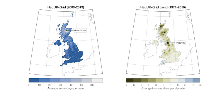 Two maps of the UK depicting the change in prevalence of snow days throughout the UK from 1971-2019.