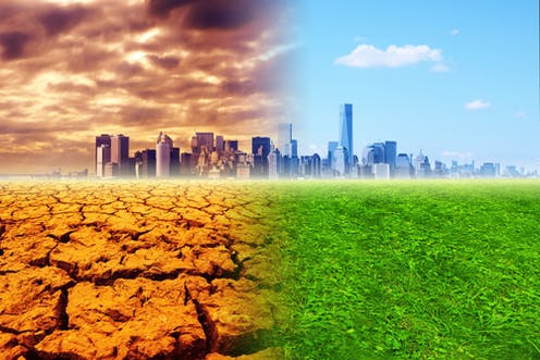 A picture of a city - one side is scorching hot, the air is polluted and dry, the other has lush green grass with clear blue skies.