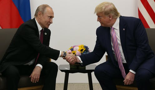 Donald Trump and Vladimir Putin meet in Osaka, Japan, June, 28, 2019.