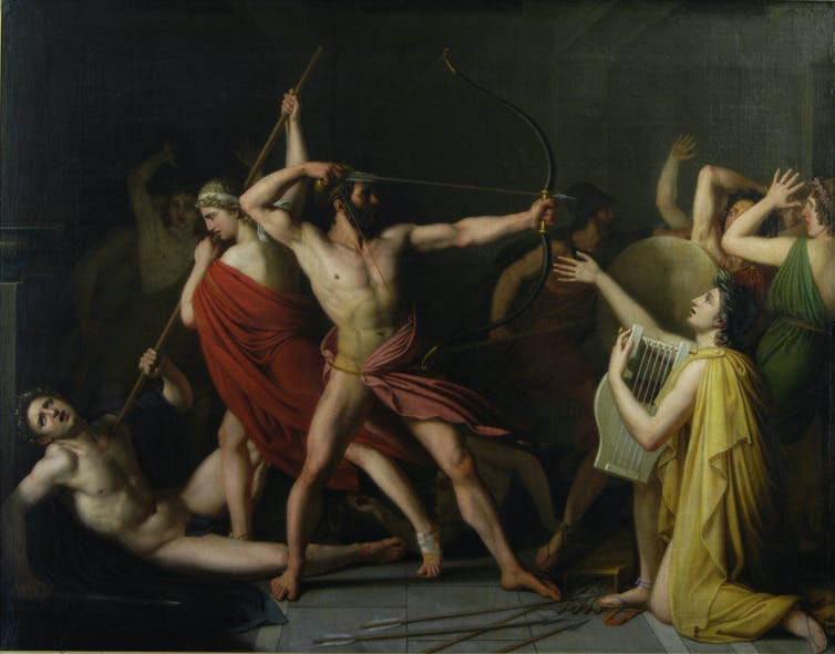 Oil panting of a shirtless man in armed battle with other men