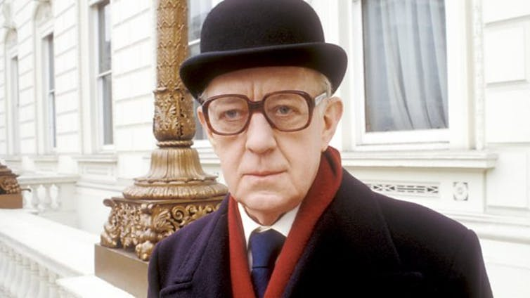 Alec Guinness in costume for his role as spymaster George Smiley in the BBC production of Tinker Tailor Soldier Spy.