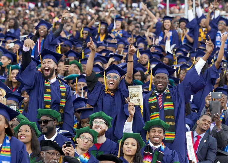 A crowd of black students who graduated from Howard University in 2016.
