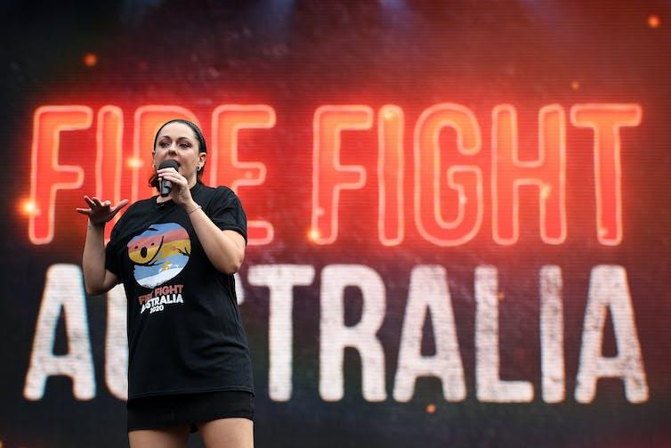 Comedian Celeste Barber at a bushfire relief concert.