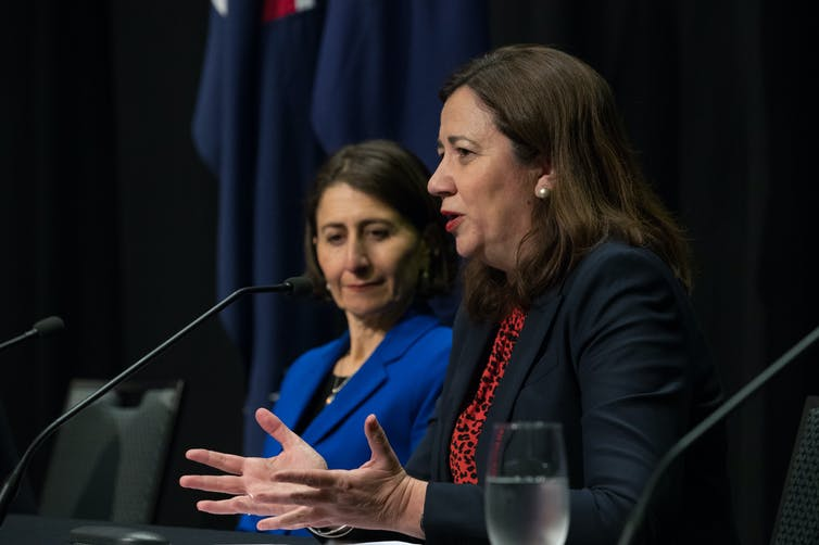 NSW Premier Gladys Berejiklian and Queensland Premier Annastacia Palaszczuk at a press conference
