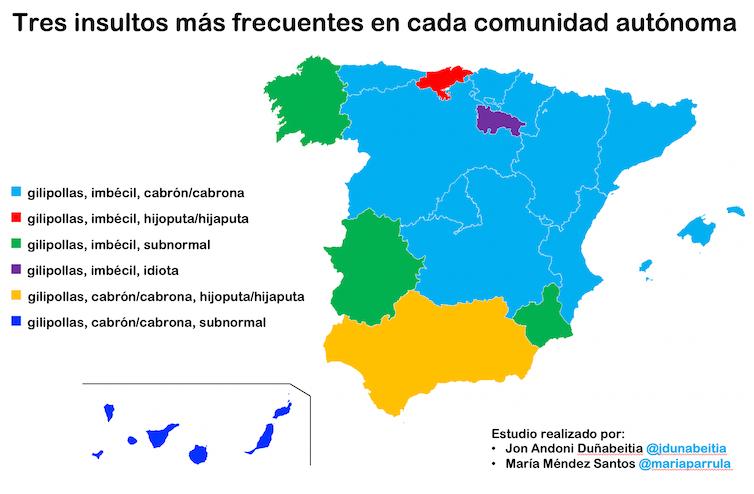 Mapa dos insultos máis frecuentes. Imaxe elaborada por Jon Andoni Duñabeitia e María Méndez Santos.