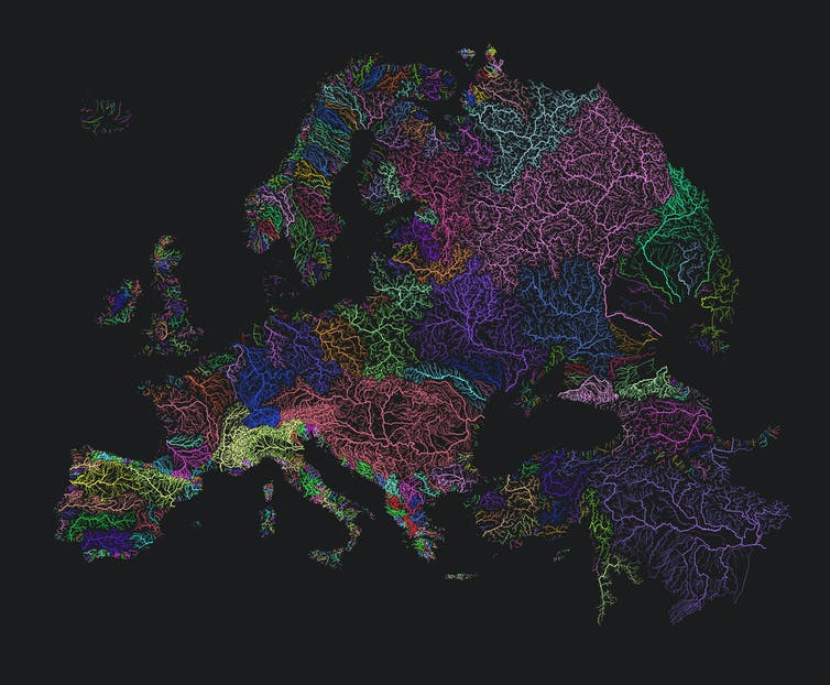Europe's main rivers, with each basins indicated by a different colour