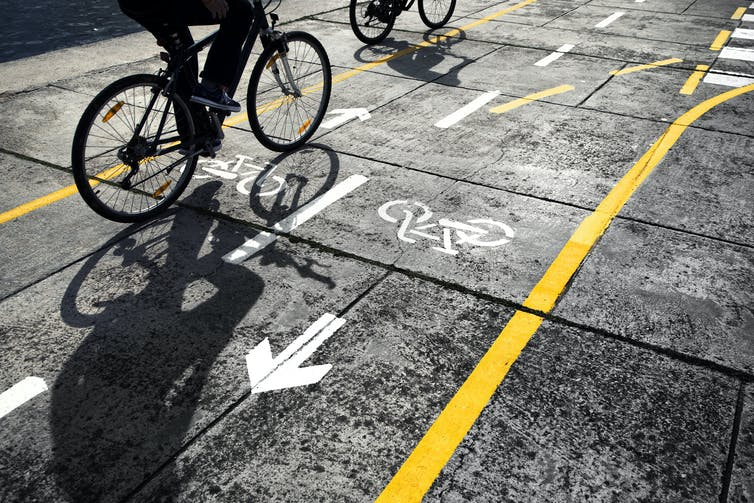 Cyclist on cycle lane