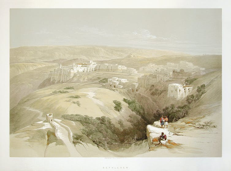 19-century painting of travellers on hill above ancient Bethlehem.