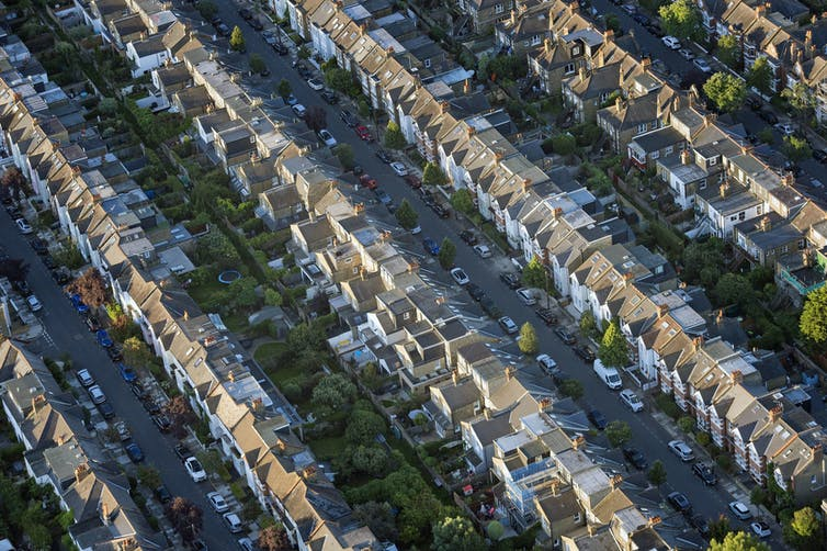 An aerial view of terraced housing.