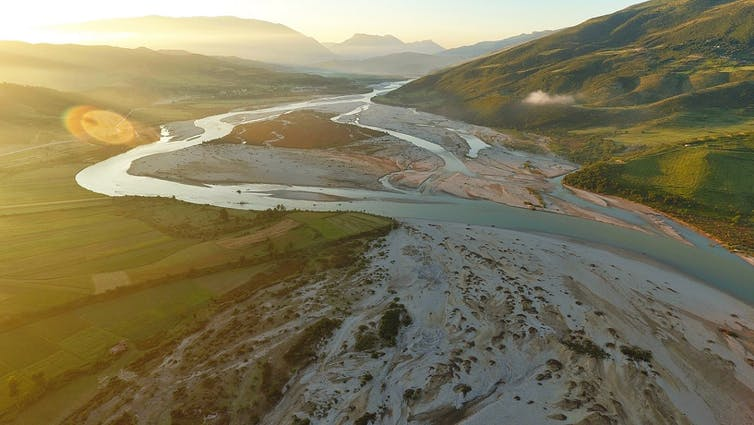 The Vjosa river flows from Greece through Albania