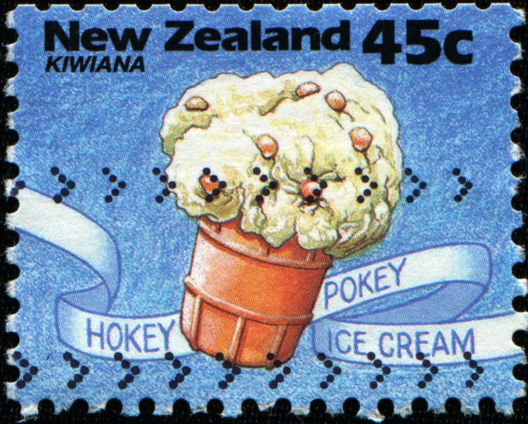 Postage stamp with picture of hokey pokey ice cream