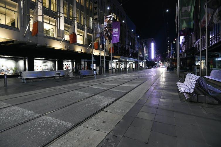 Deserted Bourke Street Mall in Melbourne