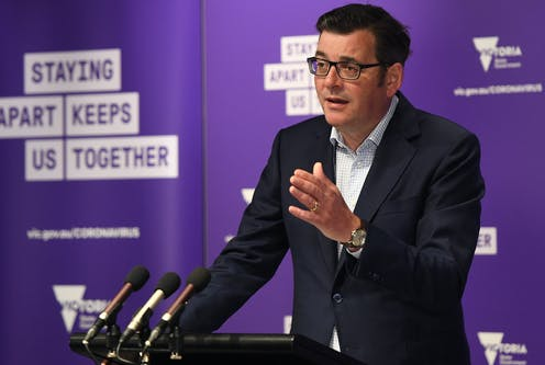 Victorian Premier Daniel Andrews ar a press conference.