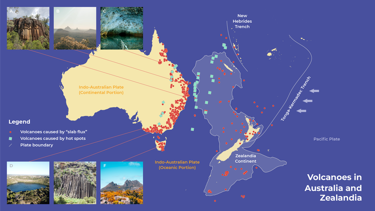 Map showing Australia and Zealandia's volcanoes, mostly located down Australia's east coast
