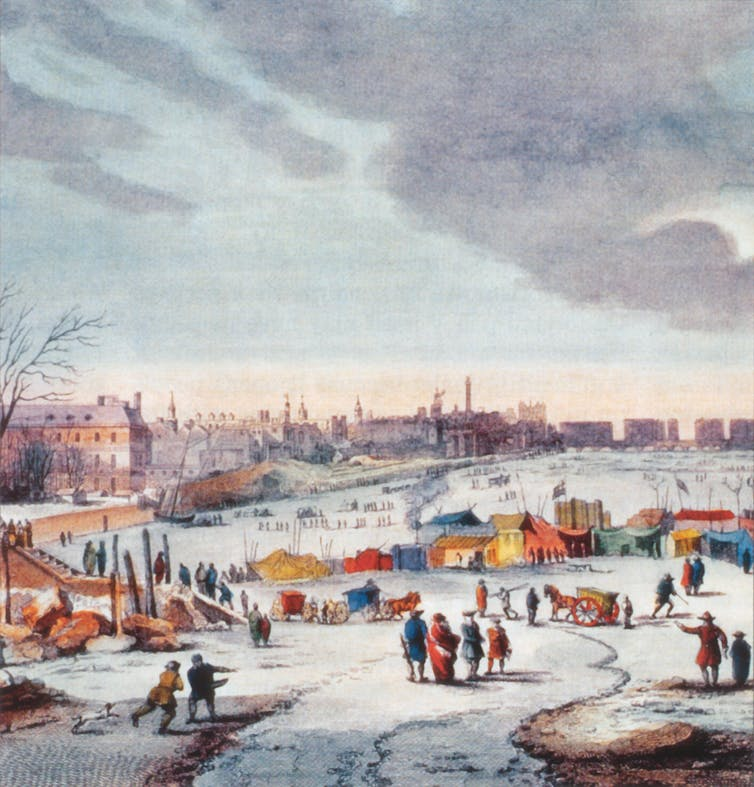 Painting of people, tents and horse-drawn carriages on the frozen river.