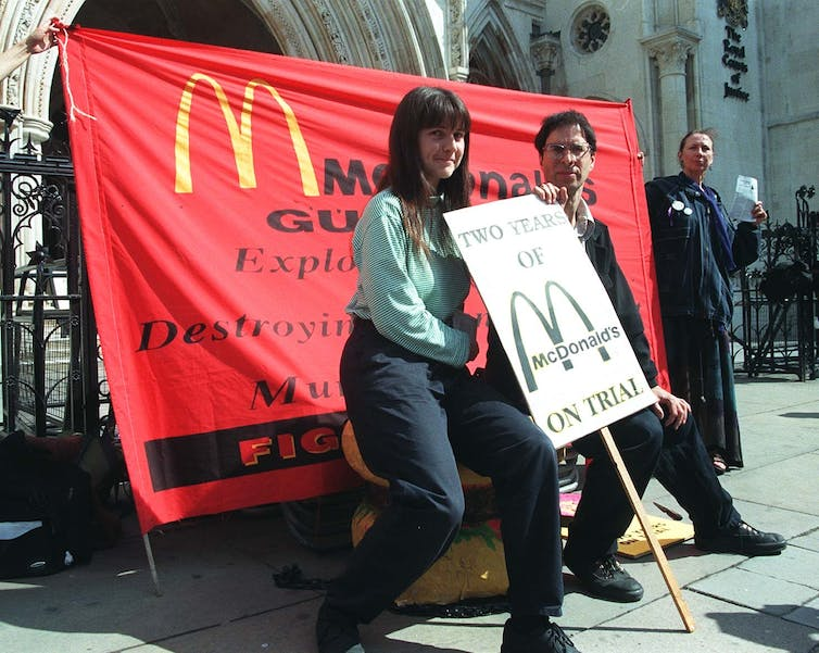 Campaigner Helen Steel is pictured outside the Royal Courts of Justice in London.