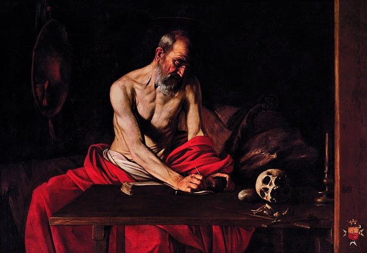 Painting of Saint Jerome by Caravaggio.