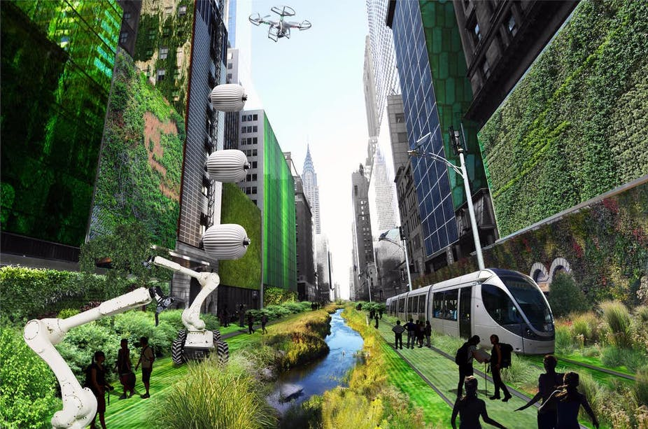 Illustration of green city with river