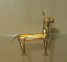 Small gold llama figurine, Inca, about AD 1500.
